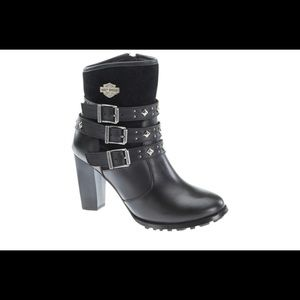 Harley-Davidson Black leather and suede boots